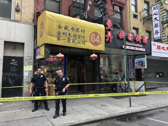 華埠東百老匯一家診所發生持械傷人案,警方封鎖現場。(市警提供)