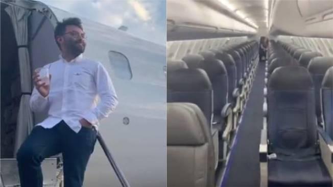 紐約市高管皮昂因緣際會,坐上了只有他一位旅客的航班。左圖為皮昂瀟灑的靠在機艙門外享用飲料,右圖為空無一人的機艙。(取自推特)