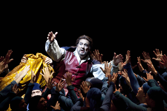 多明哥2009年10月在柏林歌劇院獻藝,演出威瓦第的「父女情深」(Simon Boccanegra)。(美聯社)