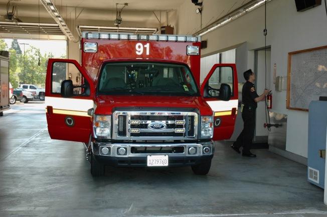 聖瑪利諾市消防車是急病救護和民宅滅火的主要工具。(記者丁曙/攝影)