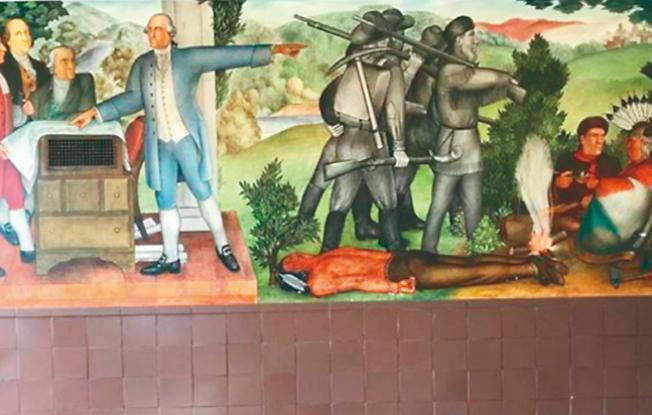 圖為壁畫中刻畫了一位死去的美國土著印第安人(本報檔案照片)。