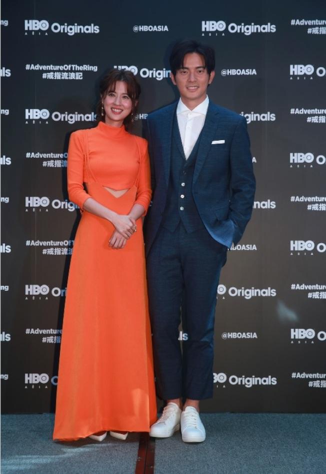 宥勝與林予晞在 「戒指流浪記」扮演論及婚嫁的情侶。(記者黃義書/攝影)