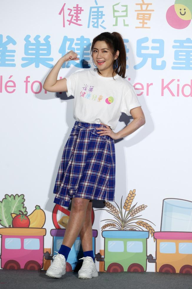 Selina擔任雀巢健康兒童大使,推廣「健康吃快樂動」。(記者曾吉松/攝影)