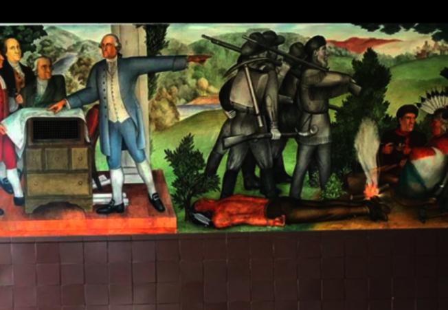 38 壁畫中刻畫了一位死去的美國土著印第安人。(本報檔案照片)