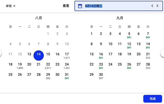 本月至下月,台北到洛杉磯的單程直飛價格也偏高。(螢幕截圖)