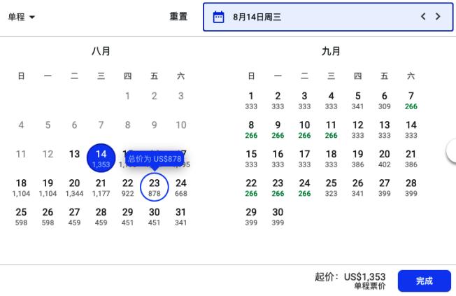 本月至下月,上海到洛杉磯的單程直飛價格。(螢幕截圖)
