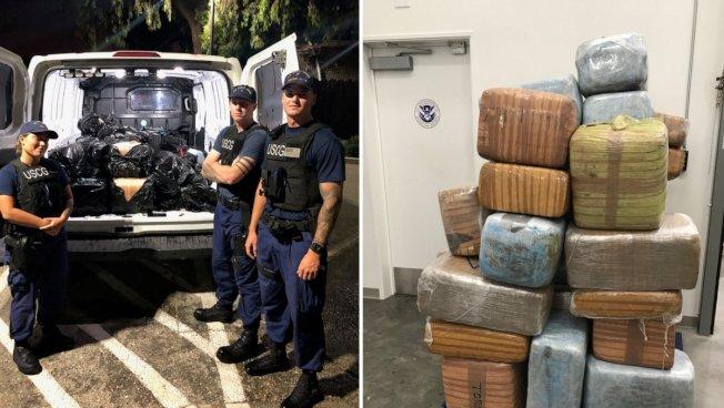 海岸防衛隊從卡塔琳娜島外海「滿載而歸」,截獲43包大麻。(海岸防衛隊提供)