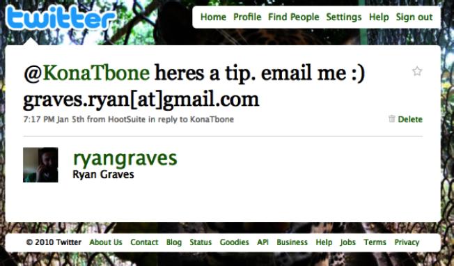 這一則推文回覆,讓葛雷夫斯成了優步的第一個員工。(葛瑞夫斯推特帳號@ryangraves)