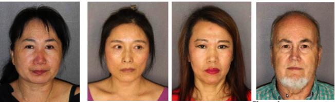馮秀芬(左一)與博勒特(右一)涉嫌仲介賣淫及無證按摩被捕控罪;左二起為寧麗梅與劉愷薇。(薩拉托加郡警方提供)