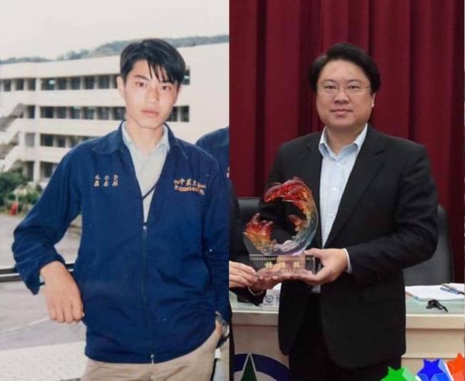 有臉書粉專16日曝光基隆市長林右昌學生及當兵時代的帥照,還寫到「這誰?根本韓國歐巴。」引發網友熱議。(取材自臉書粉專「貓與邪佞的手指」)