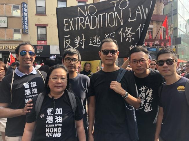 NY4HK楊錦霞(左二起)、周永康和楊岳僑(右二起)、羅冠聰。(記者張晨/攝影)