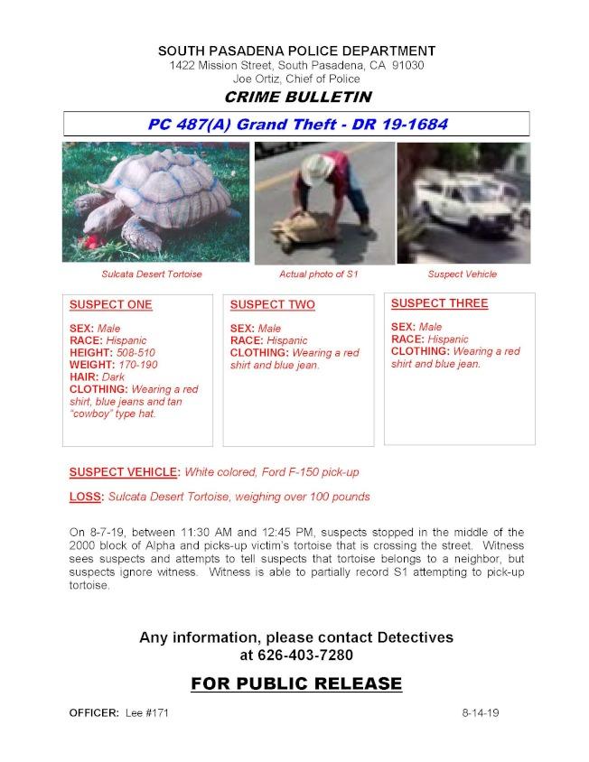 南巴警方日前發布盗竊罪的通緝令,徵集破案線索捉拿三名偷龜賊。(警方提供)