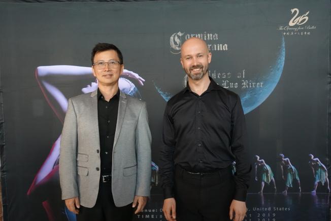 洛神和布蘭詩歌的編導Peter Quanz(右)和蔣齊。(記者金春香/攝影)