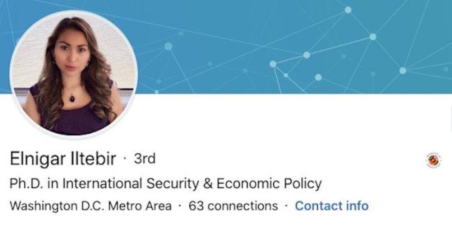 白宮任命了維吾爾裔美國學者伊爾特拜爾擔任國安委員會的對中政策負責人,圖為她在領英網站的資料照。(Elnigar Iltebir/LinkedIn)
