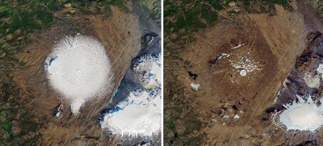 美國太空總署(NASA)提供衛星畫面,顯示Okjokull冰川在1986年9月日7(左圖)和2019年8月1日(右圖)的差異。歐新社