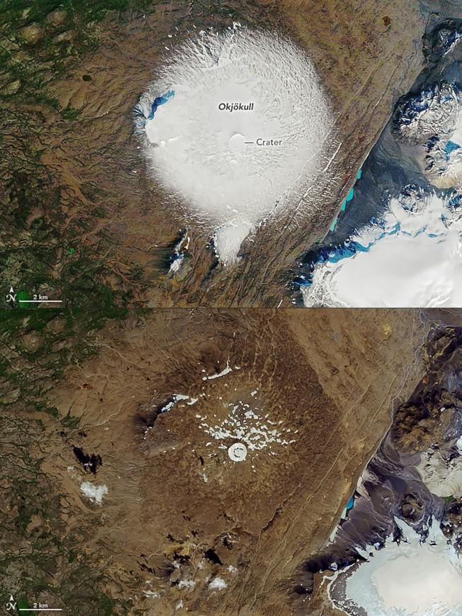 第一座冰山之死。在冰島OK火山上的Okjokull冰山被宣布消失死亡。由美國NASA衛星偵測圖可見,上圖為1986年9月14日所攝的冰山照,下圖為2019年8月1日冰山照。1909年估測的冰山範圍大小為38平方公里(15平方里),但1978年空照顯示只剩約3平方公里,到2019年冰山範圍已融化到不足1平方公里。(美聯社)