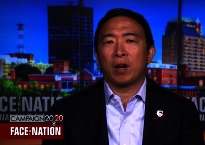 民主黨總統初選,華裔參選人楊安澤知名度越來越高,他18日接受全美播出的CBS周日政論節目「面對全國」的訪談。(取自CBS)