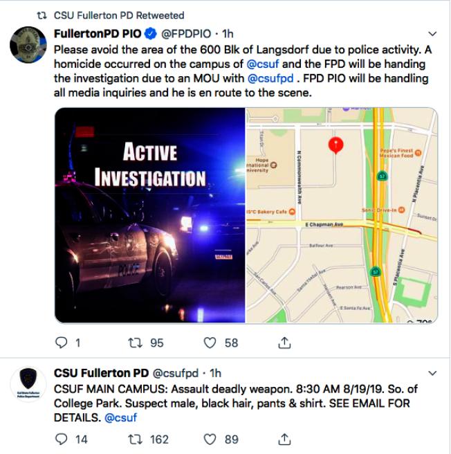 橙縣富樂頓加州州立大學校警局在推特(Twitter)發佈警訊,公佈校園發生命案,並提醒民眾如今正在封路調查。(取自校警局推特)
