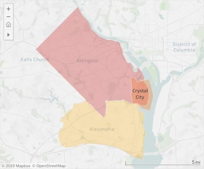 亞馬遜第二總部入駐北維州水晶市,周圍的阿靈頓郡(粉色區)和亞歷山卓市(黃色區)成為全美競爭最激烈的房地產市場。(Redfin)