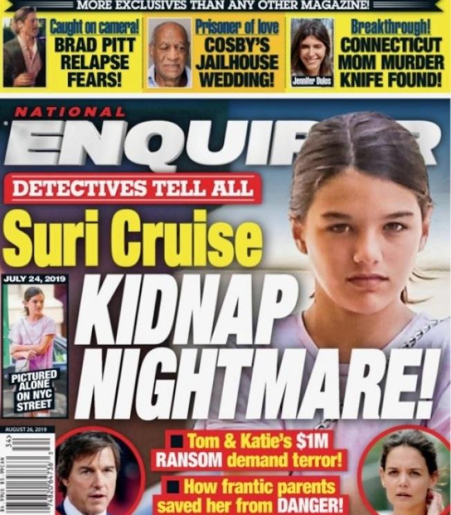蘇蕊被八卦刊物爆出恐成歹徒勒贖的目標,爸媽必須要非常小心。(取材自National Enquirer)