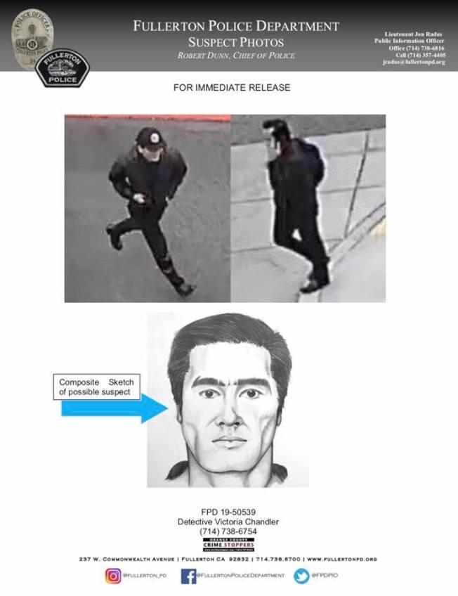 警方公布19日富樂頓州大命案兇嫌繪圖及逃離現場時的視頻截圖。(富樂頓市警局提供)