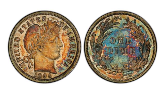有125年歷史的這枚1894-S Barber 10分錢硬幣,以132萬元轉手。(有線電視新聞網截頻)