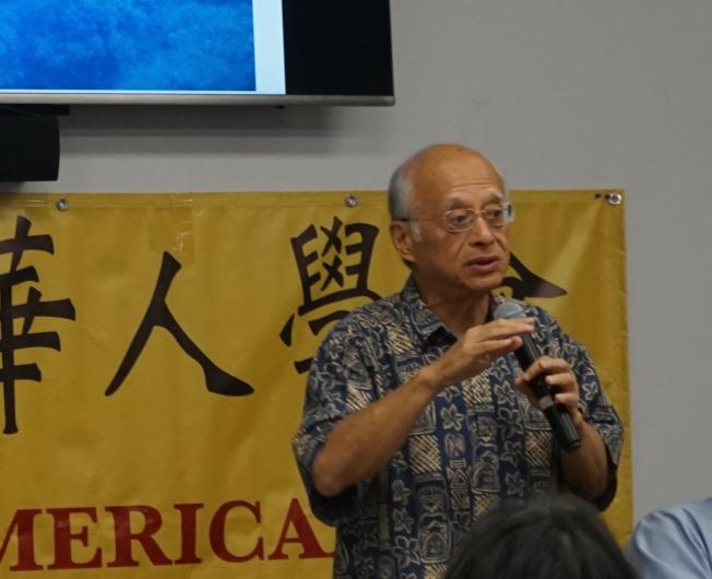 近日受美西華人學會邀請,在南加州做主題演講的台灣大學榮譽教授黃光國。(本報記者/攝影)