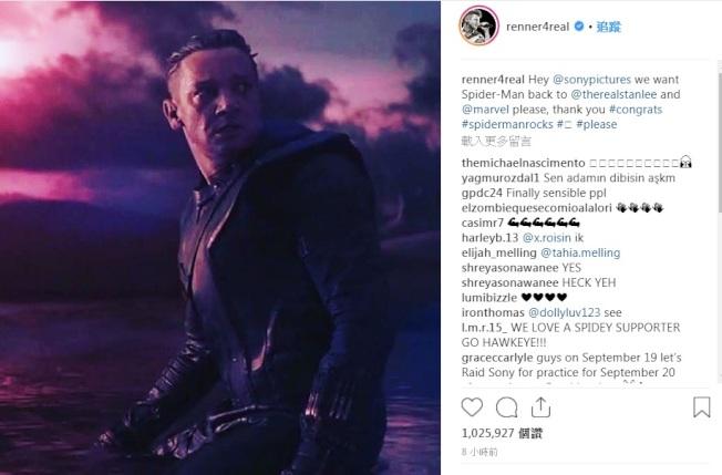「鷹眼」傑瑞米雷納率先在社群網站上求索尼讓蜘蛛人留在漫威電影宇宙中。圖/翻攝自Instagram