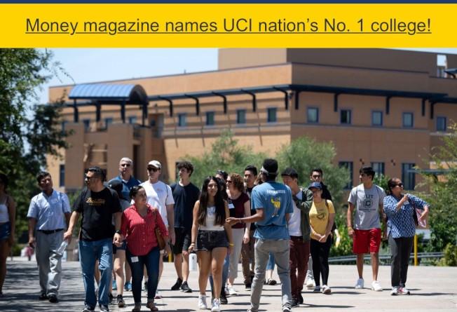 爾灣加大的官網首頁,刊出排名第一的好消息。(翻拍自UCI.org)