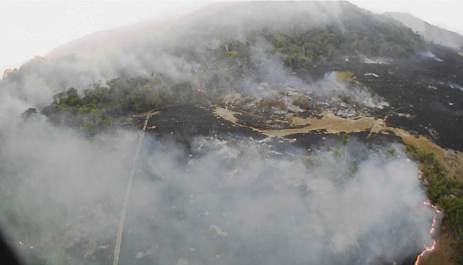 巴西官方的國家太空研究院所公布的無人機20日空拍圖顯示靠近亞馬遜雨林區 山火正在燒。巴西官方表示今年山火事件創下紀錄。(美聯社)