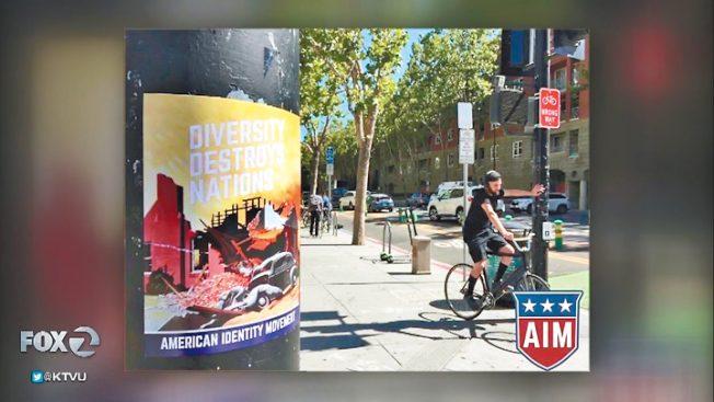 白人至上團體 闖聖荷西州大貼仇視海報