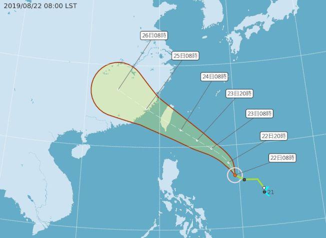 白鹿颱風未來動向。(取材自中央氣象局網站)