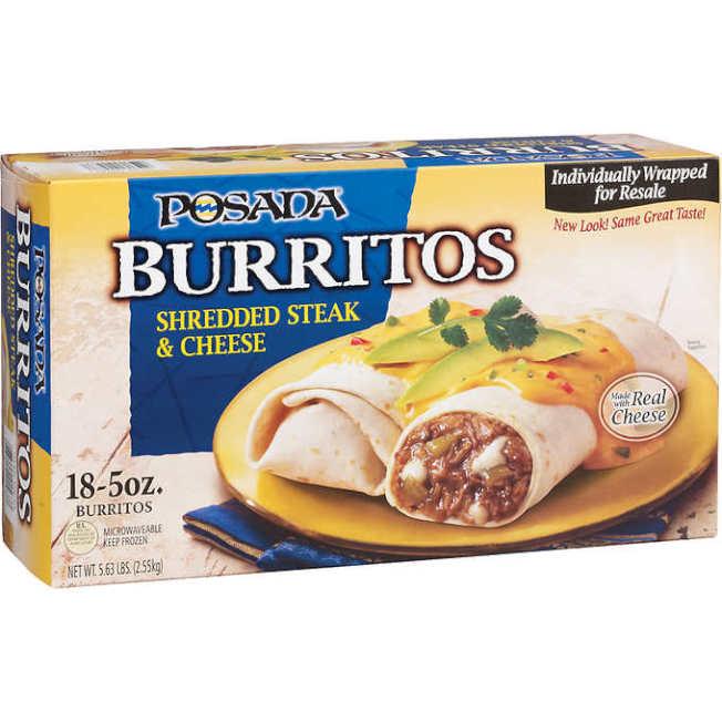 好市多提供的墨西哥捲餅,以知名品牌Posada的牛排丁與起司口味為例,一盒18份的售價是13.99元,等於每份才0.78元。(取自好市多官網)