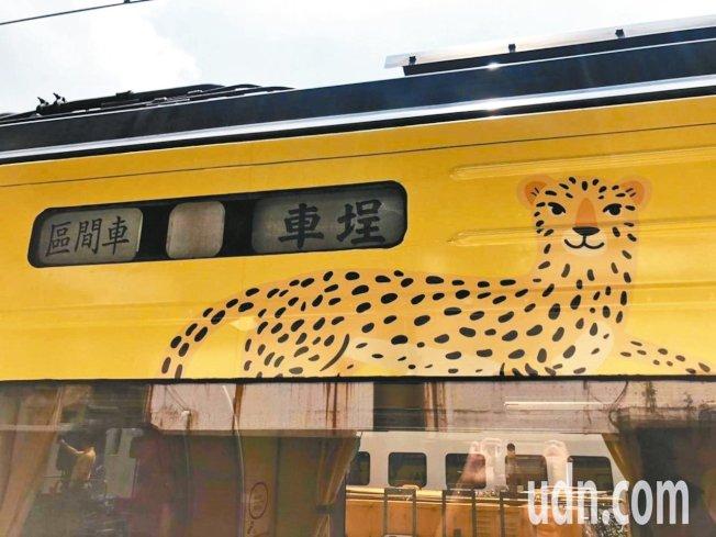 集集支線彩繪列車上的石虎圖案,遭外界批評像花豹。 圖/聯合報系資料照片