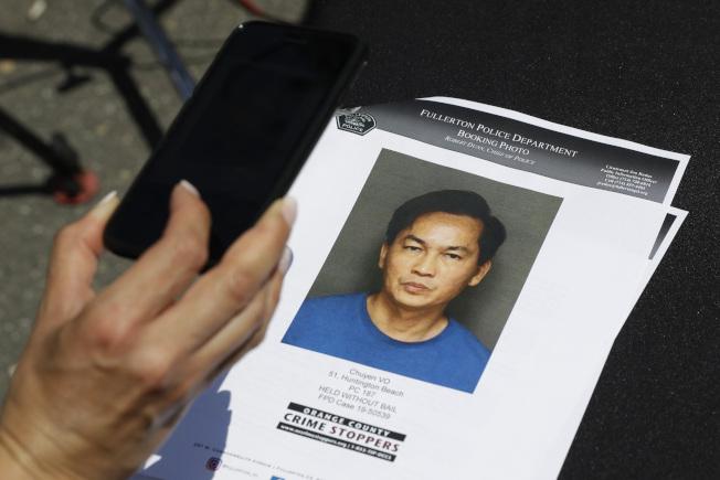 加州富樂頓警方22日宣布,富樂頓加大華裔顧問被刺案偵破,逮捕51歲兇嫌武初業。(美聯社)