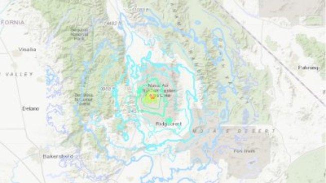 南加州里奇克萊斯特(Ridgecrest)22日下午發生芮氏規模5.0地震。(USGS提供)