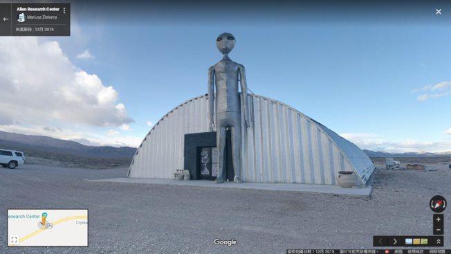 位於內華達州西南方的375號公路,又稱為「外星人公路」,路上有個「外星人研究中心」,造型相當特別。這裡距離「第51區」不太遠,算是另類的觀光景點。(谷歌街景截圖)