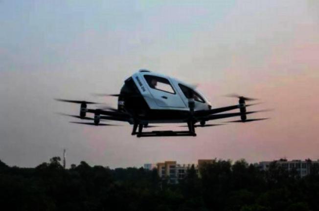 廣州已經開始試點載人「飛的」(飛行計程車),成本等同於搭計程車的錢。(取材自中新網)
