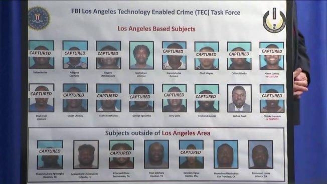 加州中區聯邦檢察處記者會展示被告照片,標明是否被捕。(KTLA電視台)