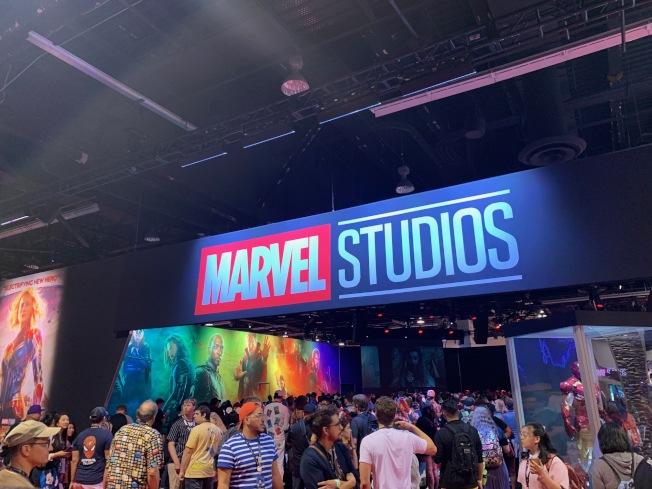 會展中心最大面積的漫威展台,展出「復仇者聯盟4」角色服裝、未來新階段內容及幕後人員與粉絲見面。(記者馬雲/攝影)