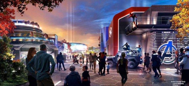 加州和巴黎迪士尼樂園正在擴建的漫威主題園區「復仇者聯盟校園」(Avengers Campus)設計圖曝光。(迪士尼圖片)