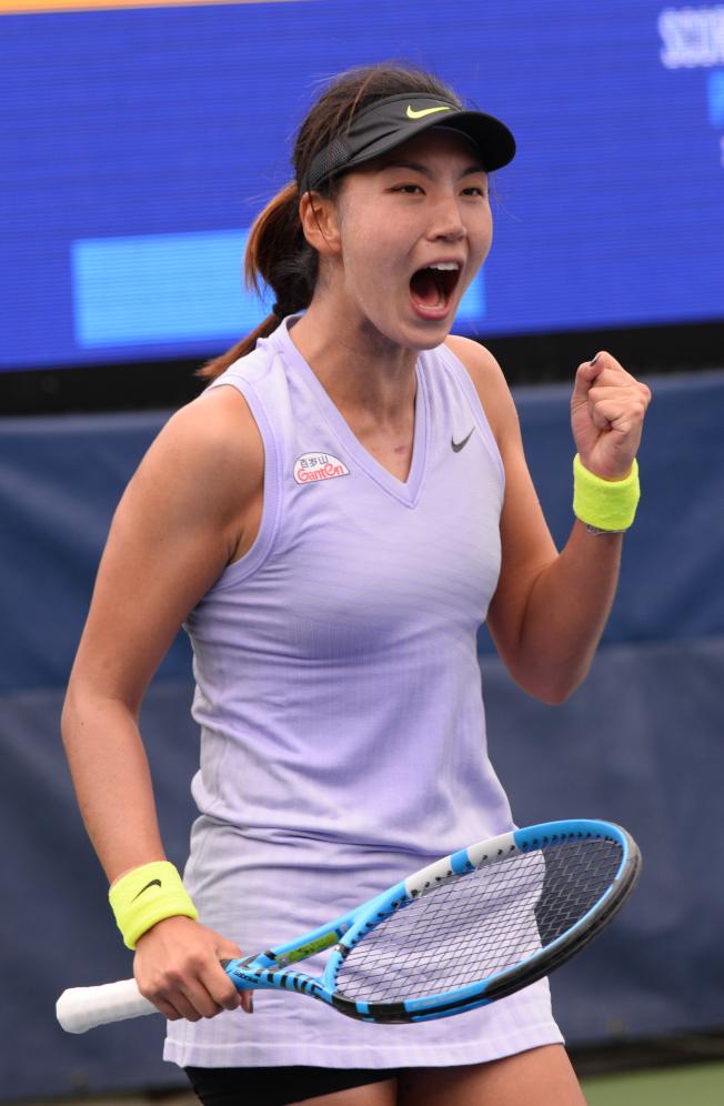 王欣瑜首次打進美網會內賽,興奮不已。(特約記者許振輝╱攝影)