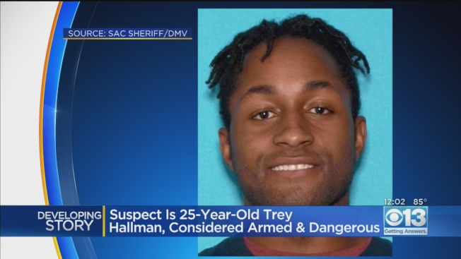25歲的荷曼(Trey Hallman),23日清晨在沙加緬度縣槍擊三人後,被警方大舉搜捕,結果很快就在東灣安蒂奧克(Antioch)落網。(電視新聞截圖)
