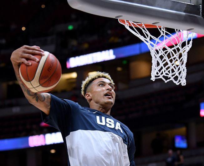 美國男籃,今日再傳傷情,湖人隊新秀庫茲瑪(Kyle Kuzma )因左腳踝扭傷,確定無緣代表美國隊出征9月世界盃男籃賽。(Getty Images)