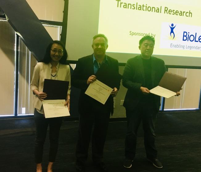 南加州第三屆台美生物科技研討會主講嘉賓左起:Ching-Ling Lien, Jerry S.H. Lee, Ron Broide。(記者尚穎╱攝影)