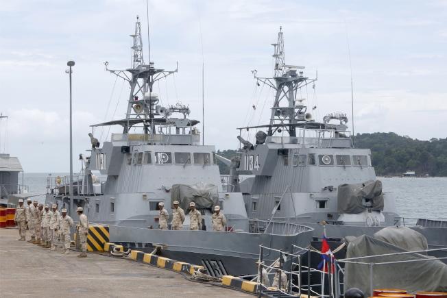 中國海軍近年積極參與海外軍事行動,影響力日增,引發美國關注。圖為位於柬埔寨西哈努克省的雲朗海軍基地。(歐新社)