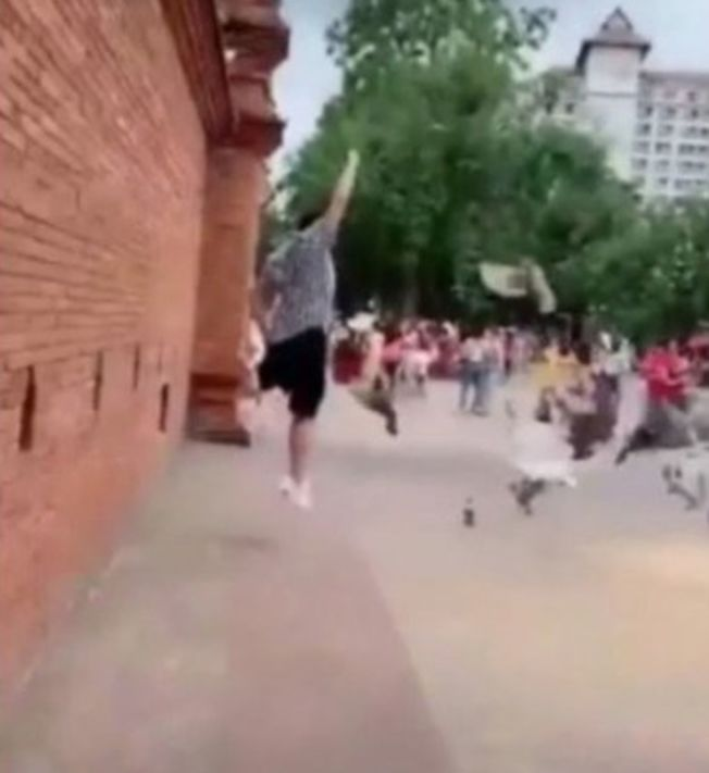 大媽近日在遊客拍照時驅趕鴿子,令對方能瞬間拍下與鴿子共舞的畫面。(取材自推特)