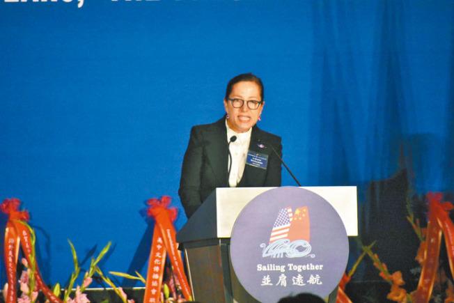 副州長康伊蓮認為,美中兩國最終能依靠人民之間的交往克服貿易戰帶來的挑戰。(記者黃少華/攝影)