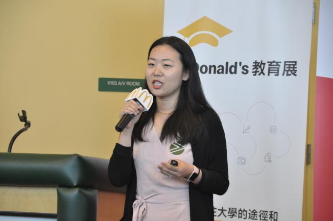 Jassica Song表示,學生應透過申請資料讓自己不只是兩張紙,而是一個立體的人。(記者林亞歆/攝影)