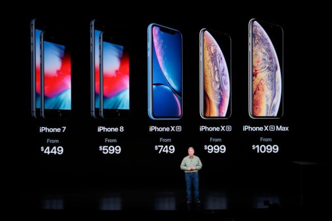 圖為各款iPhone的售價,最高級的iPhone XS Max,起價要1099元。(Getty Images)